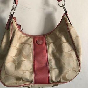 COACH Beige/Pink Jacquard Bag